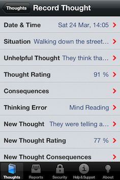 Thought Diary Pro #app | It's for tracking negative thoughts and the situations they arise in, as well as identification of the Thinking/Cognitive Error, and then identifying a more rational thought as an outcome. #behavioralhealth