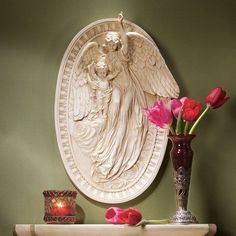 Design Toscano Angel of Grace Bas-Relief Wall Sculpture - NG34247