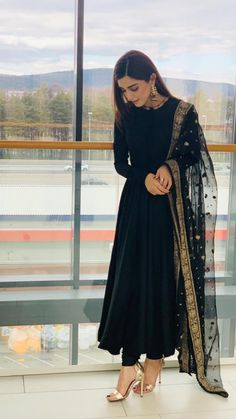 Indian designer suits - This Super Stylish Georgette Fabric Is Exclusively Crafted With Embroidery The Black Colour Suit Comes With Matching Bottom And Dupatta This Style Can Be Worn On Any Occasion And Can Crace Any Body Party Wear Indian Dresses, Pakistani Dresses Casual, Indian Gowns Dresses, Indian Fashion Dresses, Dress Indian Style, Pakistani Dress Design, Indian Outfits, Casual Indian Fashion, Black Indian Gown