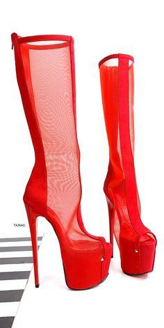 Red Knee High Boots, Knee High Platform Boots, High Heel Boots, Knee Boots, Heeled Boots, Cream High Heels, Lace Up High Heels, Hot High Heels, High Heels Stilettos
