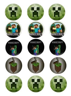 Minecraft edible image cupcake toppers by Toppers4Cake on Etsy, $8.00