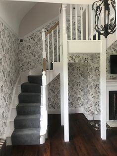 A stunning single winder staircase with feature Bullnose step. All white primed to contrast against the White Oak handrail creating a beautiful focal point. Glass Stairs, Metal Stairs, Painted Stairs, Wooden Stairs, Iron Staircase, Curved Staircase, Staircase Design, Staircase Ideas, Oak Handrail