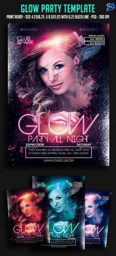 Glow Party All Night Flyer Template PSD. Download here: http://graphicriver.net/item/glow-party-all-night-flyer/15858140?ref=ksioks