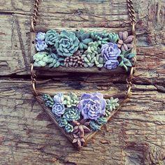 Cactus crasas colgante - collar de suculentas de polímero arcilla joyería - idea de regalo de verano - planta-