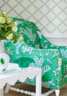 Salem Wing Chair from Thibaut Fine Furniture in Goa printed fabric in Green