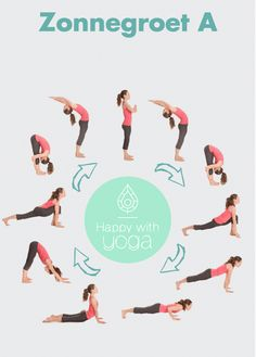 Surya Namaskar: Zonnegroet/ Sun salutation — joy of yoga Yoga Kundalini, Ashtanga Yoga, Bikram Yoga, Yin Yoga Poses, Vinyasa Yoga, Yoga Beginners, Diy Yoga, Yoga Training, Surya Namaskar