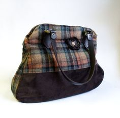 Leather and plaid wool tote bag shoulder bag or handbag by diohej, $95.00
