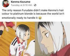Kenma Kozume, Haikyuu Karasuno, Kuroken, Kagehina, Haikyuu Funny, Haikyuu Fanart, Funny Anime Pics, Cute Anime Guys, Nagisa Shiota