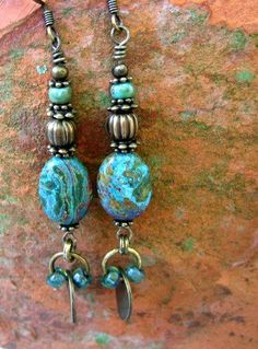 Blue Earring/ Green earring/ Natural by IsleofSkyeJewelry on Etsy www.isleofskyejewelry.etsy.com