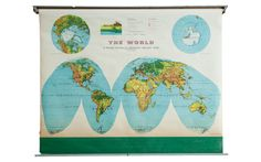:: Vintage world pull down map by Rand McNally, Merged Relief Series. Excellent vintage condition overall with some slight discoloration and fraying along the bottom. Pull Down Map, Map Globe, Custom Items, Old And New, 1960s, New Homes, World, Artwork, Etsy