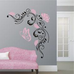 8 besten wandtattoo blumenranken bilder auf pinterest bed room kids room und bedroom decor. Black Bedroom Furniture Sets. Home Design Ideas