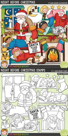 Night Before Christmas - Christmas Eve digital scrapbook elements / cute Santa Christmas clip art! (Clipart and line art bundle). Hand-drawn illustrations for digital scrapbooking, crafting and teaching resources from Kate Hadfield Designs. Scrapbooking Journal, Scrapbooking Layouts, Before Christmas, Christmas Eve, Digital Scrapbook Paper, Scrapbook Kit, Printable Crafts, Creative Memories, Christmas Clipart