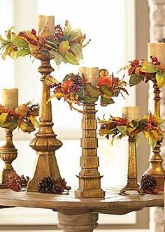 Fall candle rings Finley Hill Collection from Grandin Road Flameless Candles, Pillar Candles, Candels, Halloween Decorations, Christmas Decorations, Holiday Decorating, Candle Decorations, Decorating Candles, Centrepiece Ideas