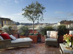 """Though she visited regularly, Branca began to crave more than just a semiannual Roman holiday—she wanted a fixed address in the Italian capital. This urban getaway pad had to be large enough to accommodate the entire family, including her husband and their three grown children, and low-maintenance enough to be managed from overseas. """"And since Rome is so much about living outside,"""" Branca says, """"I also wanted a space with a terrace."""""""