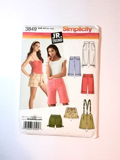 Simplicity 3849 Juniors' Cropped Pants and Shorts Pattern by DonnaDesigned