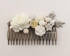 Wedding Hair Accessory White Bridal Hair Comb Statement Romantic Headpiece Ivory Silver Leaves Rhinestone Crystal Pearl Vintage Style JW