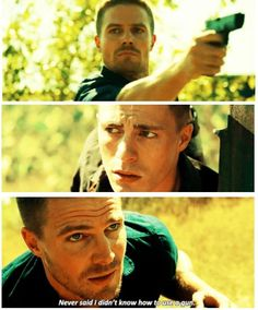 Arrow - Oliver and Roy #Season3 Ok THIS PART WAS THE ABSILUTE BEST I MEAN CMON HE USED A GUN. WHEN I SAW THIS I LITTERALY JAW DROPPED:)