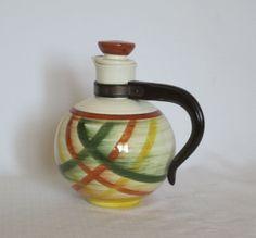 Plaid Homespun Coffee Pot Hand Painted Under Glaze by Alveta 9a5f203c40dc