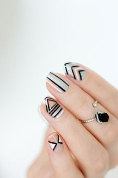 black and silver geometric nails