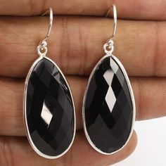 Natural BLACK ONYX Big Pear Gemstones 925 Sterling Silver Earrings FREE SHIPPING #Unbranded #DropDangle