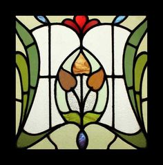 Stained Glass Window English Antique Art Nouveau Floral RARE Stunning |