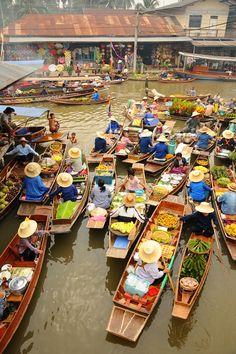 Traffic Jam at the Amphawa Floating Market in Bangkok, Thailand