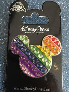 Rainbow Mickey Jeweled Pin