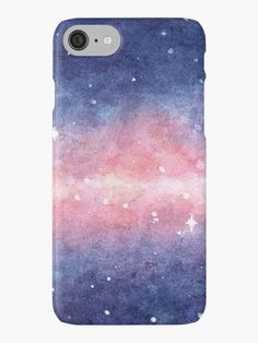 Watercolor Space iPhone Case by Anastasia Shemetova #faerieshop #watercolour #watercolor #space #galaxy #universe #stars #painting #cosmos #purple #night #present #gift #idea #pink #painting #starry #sky #paint #art #water #color #redbubble #case #skin #phone