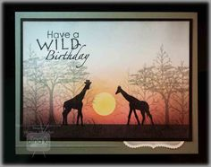 Giraffes at Sunset...gorgeous...Theresa gives a photo tutorial on how to make this card at her site...