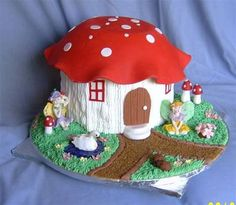 Mushroom House and Fairy Cake