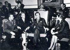 Юрий Гагарин и Валентина Терешкова на приеме у президента Мексики Матиоса Лопеса
