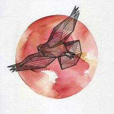"""Geometric Animals by Allison Kunath, via Behance. Repinned by Elizabeth VanBuskirk on """"Teaching about the Incas."""" Inspiration for drawing the Andean condor, considered by Inca people to be Messenger to the Mountain Gods (called Apus.)"""