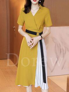 bf89424832593 ファッション通販 #Fashion Dorew配色ベルト付き切り替えプリーツワンピース着痩せストライプ柄レディース