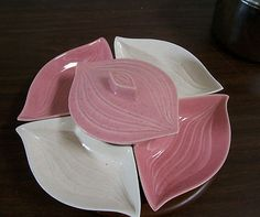 Vintage Mid Century Retro Made in USA Lazy Susan Serving Set Chip Dip L-34