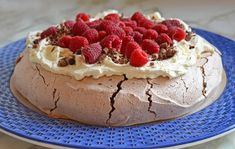 Double Chocolate Pavlova with Marscapone Cream and Raspberries
