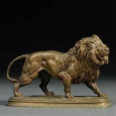 After Paul Edouard Delabrierre (French, 1829-1912) Bronze Model of a Lion.