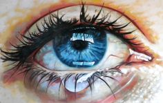 Close up teary eye Painting by Thomas Saliot