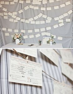 hanging seating place cards.
