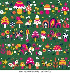 mushrooms 70s patterns