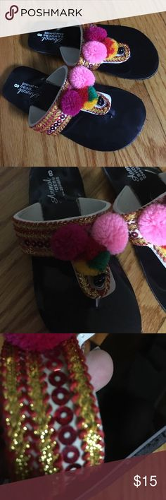 Girls ethnic Embroidered flip flop Girls ethnic Embroidered flip flop light weight .size fit to age 3/4 . In inches length is 6.4 inches . Not for very chubby feets. Shoes Sandals & Flip Flops