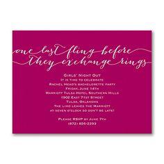 One Last Fling - Bachelorette Party Invitation
