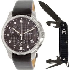 Victorinox Swiss Army Men's Officer's 241552.1 Black Leather Swiss Quartz Watch