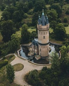 the tower where a young blonde was held captive by a witch until a young prince got lost in the forest and. Tower House, Castle House, Beautiful Castles, Beautiful Places, Places Around The World, Around The Worlds, Small Castles, Villa, Medieval Castle