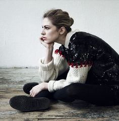 DIY, Outanding Remade Pullover |  sequinned body attached to aran sleeves with embellished embroidery at the seam