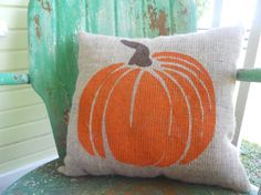 FALL HALLOWEEN PUMPKIN Fun Painted Burlap Throw Accent Pillow Home Decor on Etsy, $24.00