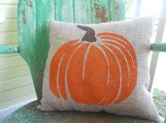 FALL HALLOWEEN PUMPKIN Fun Painted Burlap Throw Accent Pillow Home Decor