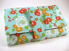 Women's Wallet  Blue Floral Print by ChickyStitches on Etsy, $40.00
