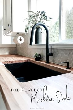 Looking for a new sink? With clean lines, a black finish, and easy to clean surface, this is the perfect modern kitchen sink! Sponsored by Elkay sink, The Perfect Modern Kitchen Sink Modern Kitchen Sinks, Modern Sink, Minimal Kitchen, Small Kitchen Sink, Home Decor Kitchen, Diy Kitchen, Kitchen Ideas, Kitchen Hacks, Kitchen Cabinets
