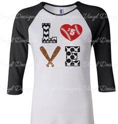Love Baseball Shirt with Number, Love Softball Shirt, Raglan Baseball Shirt, 3/4 sleeve by VinylDezignz on Etsy