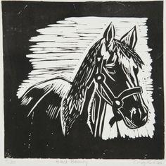 Black Beauty (horse) - linocut - Cindy Kubloo, Canada Lino Prints, Block Prints, Lino Art, Sgraffito, Zebras, Glitch, Black Beauty, Art Inspo, Printmaking